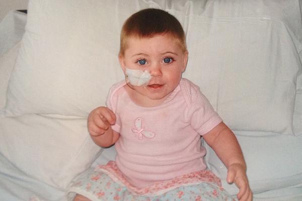 Ava Burnett receiving treatment in hospital